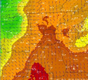 SPoRT ADAS Dew Point & Wind, 11/30/10 at 6 AM CST/1200 UTC