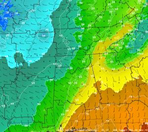 SPoRT ADAS Temperatures, 11/30/10 at 11 AM CST/1700 UTC