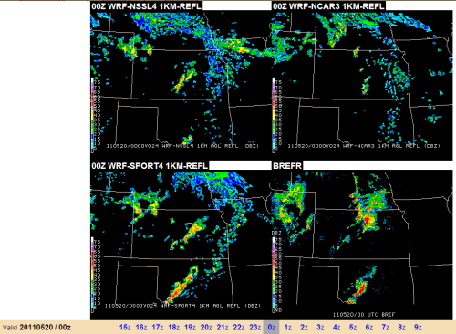 Forecast reflectivity from the NSSL, NCAR, and SPoRT-WRF runs, along with the verifying radar image at 0000 UTC 20 May 2011.