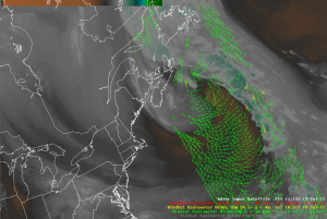 Ascending WindSat Swath from 1051 UTC 15 July 2011, and GOES-East Water Vapor from 1115 UTC 15 July