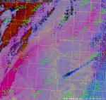 Figure 2.  SPoRT MODIS RGB Dust image overlain with observations valid at 2033/2100 UTC April 14th 2012