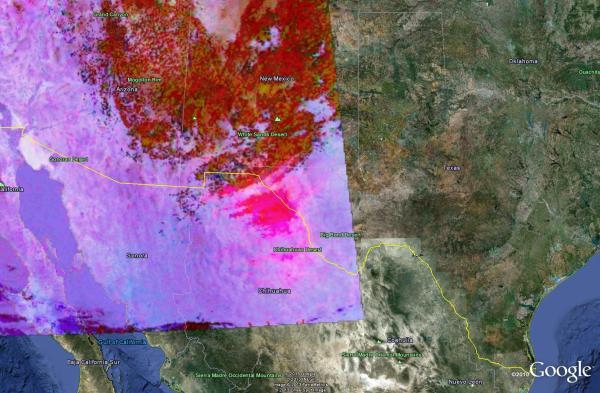 Image 1.  Aqua MODIS Dust RGB valid 2057 UTC 24 Feb 2013.