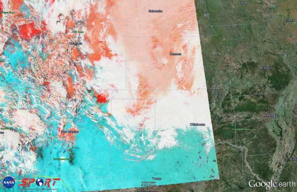 Image 1.  Aqua MODIS False Color Image valid 2027 UTC 21 Feb 2013