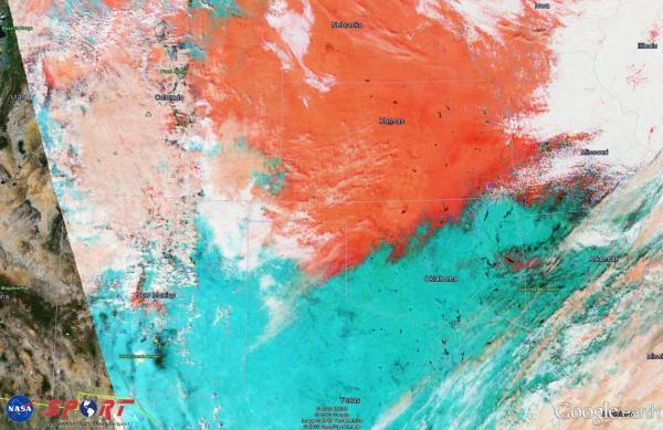 Figure 4.  VIIRS False Color image valid 1929 UTC 22 Feb 2013