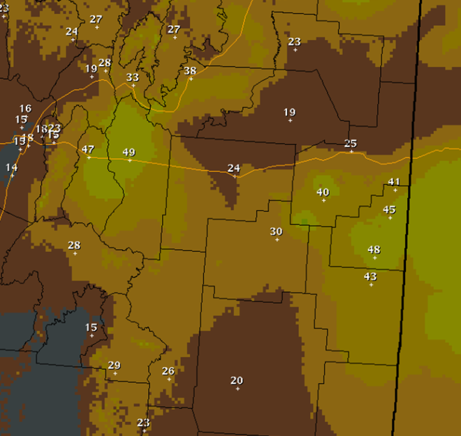 Minimum Humidity Observation February 27, 2013