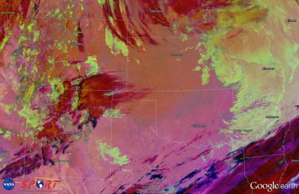 Image 3.  VIIRS Nighttime Microphysics RGB image valid 0811 UTC 22 Feb 2013