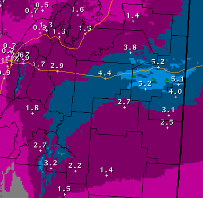 Snowfall forecast for the 12hour period of blizzard conditions across eastern NM.