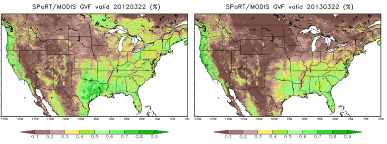 Figure 2. Comparison between the 22 March SPoRT/MODIS green vegetation fraction (GVF) from 2012 (left) and 2013 (right).