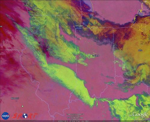 Image 6.  VIIRS Nighttime Microphysics image valid 0752 UTC 27 March 2013.