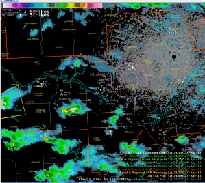 KHTX radar and North Alabama Lightning Mapping Array source density data, with range rings from downtown Huntsville