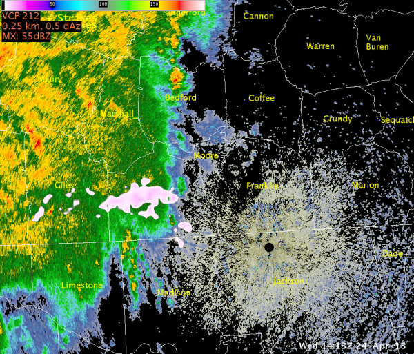 Image 1.  KHTX reflectivity valid ~1413Z April 24, 2013, with North Alabama LMA and NLDN data.