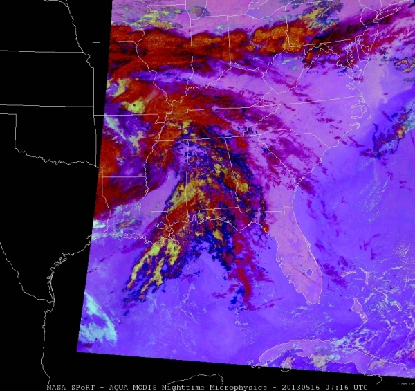 Image 2.  MODIS Nighttime Microphysics RGB valid 0716 UTC May 16, 2013.