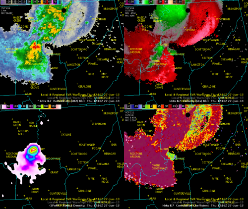 Image 1.  Data valid ~1216 UTC -- from upper left, clockwise:  KHTX 8.7 degree reflectivity (dBZ), 8.7 degree velocity (kts), 8.7 degree Correlation Coefficient, North Alabama LMA (source density).
