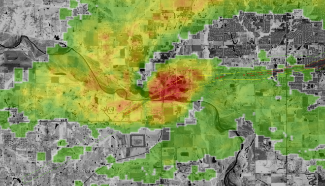 Once again the same NDVI frame as above but this time the KTLX radar image is 2003z from May 20, 2013.