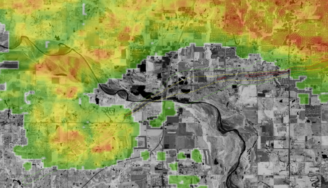 Zoomed in area just west of Moore with 1955z KTLX radar image overlaid. EF ratings are also outlined, EF-0 are in green, EF-2 in yellow and EF-4 in red.