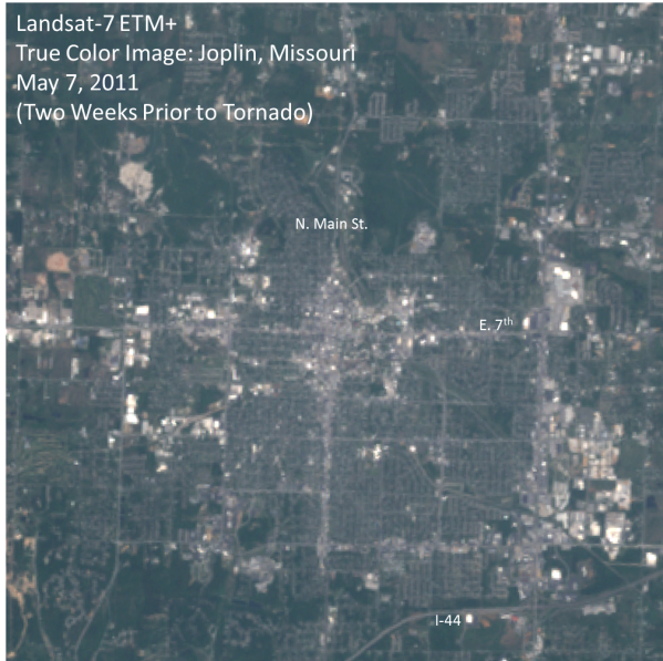 Landsat-7 true color image over  Joplin, Missouri on May 7, 2011, representing conditions prior to the May 22, 2011 tornado.