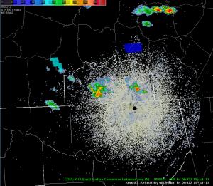 KHTX Radar reflectivity and GOES-R CI image, valid approximately 0045 UTC 19 July 2013