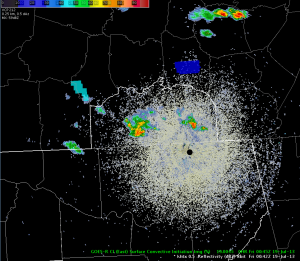 KHTX Radar reflectivity and GOES-R CI image, valid approximately 0045 UTC 19 July 2013