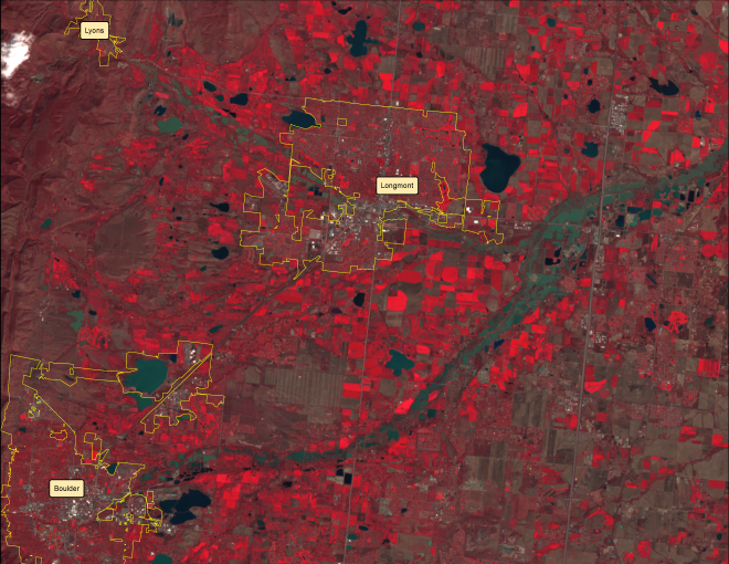 A false color image from Landsat 8 on September 17, 2013 provides even more detail the current flooding situation in Northern Colorado.