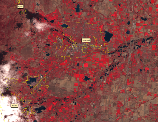A false color image from Landsat 8 on July 31, 2013.