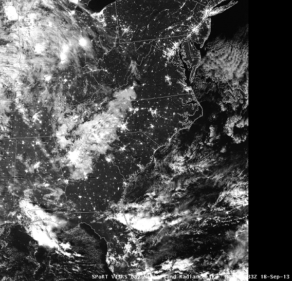 SPoRT Day/Night Band Radiance from VIIRS, valid ~0633 UTC 18th September 2013 (image from WFO Raleigh AWIPS I, courtesy of the Science and Operations Officer)