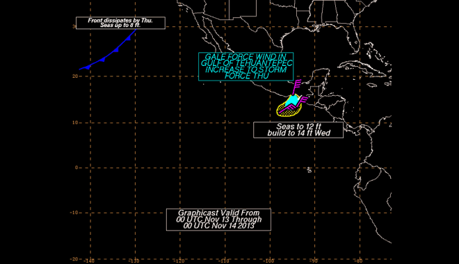 Fig. 5.  Experimental Graphical Forecast produced by NHC's Tropical Analysis and Forecast Branch, valid through 0000 UTC 14 November 2013.