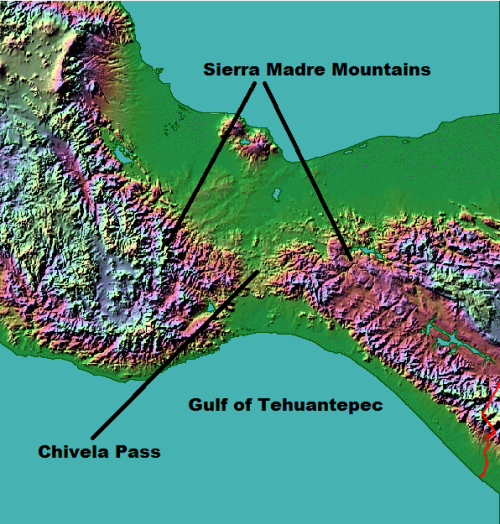 Figure 1.  Topography in Eastern Mexico leading to strong gap winds in the Gulf of Tehuantepec.
