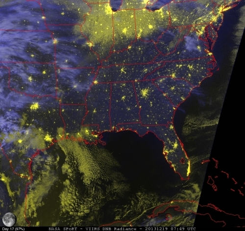 Image 3.  Suomi NPP VIIRS Day-Night Band Radiance RGB 19 Dec 2013 0749 UTC