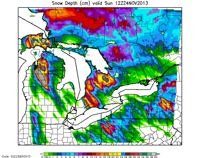 36-hr WRF forecast of model snow depth valid at 1200 UTC on 24 November 2013.  The spatial extent of the snow on the ground and largest snowfall areas over southern Ontario coincide with what is seen in the MODIS false color image and snowfall reports.