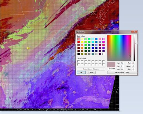 Image 3.  Suomi NPP VIIRS Nighttime Microphysics RGB valid Dec 9 2013 0736 UTC.