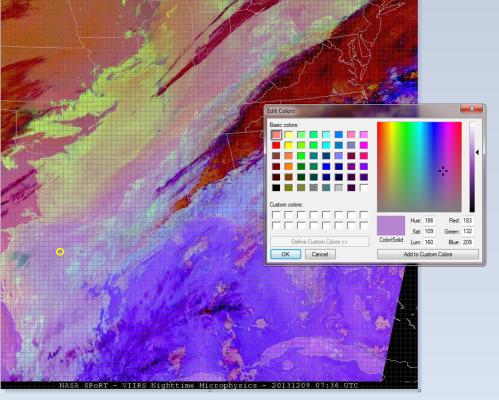 Image 1.  SUOMI NPP VIIRS Nighttime Microphysics RGB valid 9 DEC 2013 0736 UTC.
