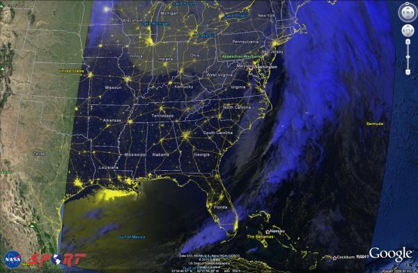 Image 1.  Soumi NPP VIIRS Day-Night Band Radiance RGB, valid 12 Jan 2014 0700 UTC
