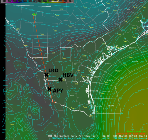 Surface Equivalent Potential Temperature 0900 UTC 2 January 2014 (WFO CRP local WRF-ARW 3-hour forecast)
