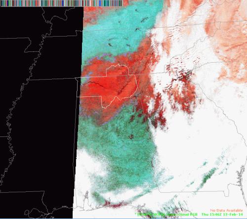 MODIS Snow/Cloud RGB Image valid 1546 UTC 13 February 2014