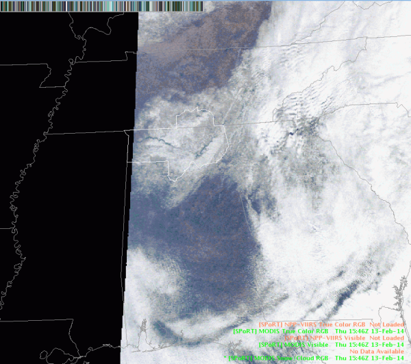 MODIS True Color Image valid 1546 UTC 13 February 2014, viewed in AWIPS II CAVE