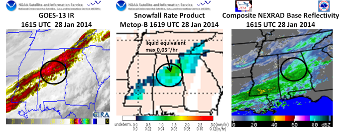 Approximate 1615 UTC GOES IR (left), Snowfall Rate Product (center), NEXRAD Composite Base Reflectivity (right)
