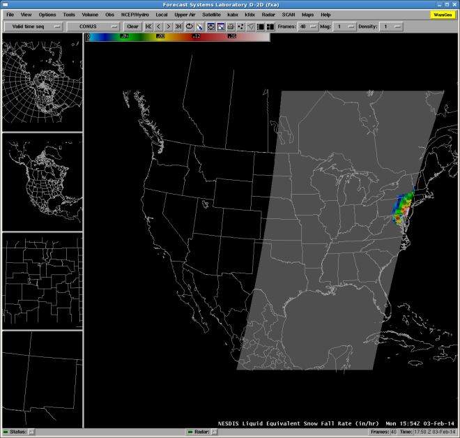 NESDIS SFR Product from 1554 UTC on 3 February 2014 depicting what are likely erroneous higher intensity SFR values along the swath edge from Metop-B.