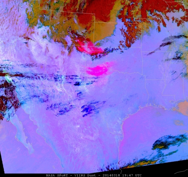 Dust RGB Imagery from VIIRS at 1947 UTC 18 March 2014 (taken from NASA/SPoRT webpage)