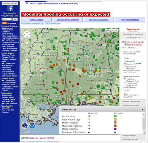 River Flood Summary courtesy of the SERFC valid as of ~14 UTC 11 April 2014