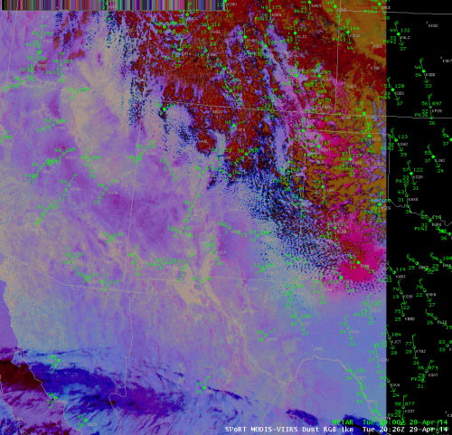 MODIS-VIIRS 1-km Dust RGB image valid 2026UTC April 29, 2014.