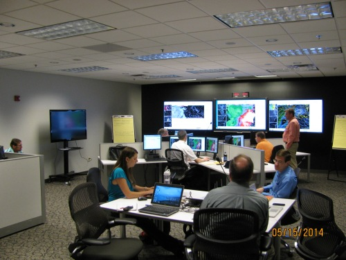 Forecasters evaluating the meteogram trace tool at the Operations Proving Ground in Kansas City, Missouri.