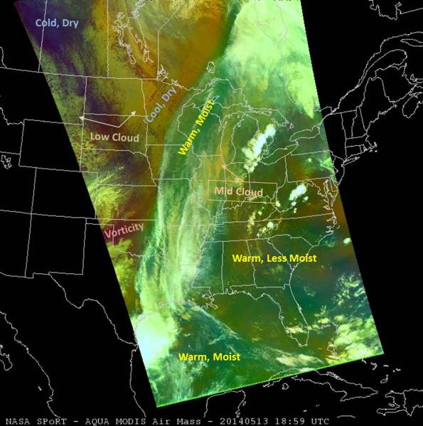 MODIS Air Mass RGB Imagery with limb correction applied to the water vapor and ozone channels.  1859 UTC, 13 May 2014