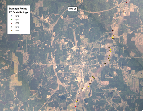 The above ISERV image shows the tornado track on the southeastern portion of the town with the EF Scale Damage Indicators overlaid on top.