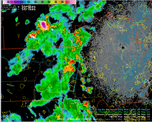 KHTX Radar and North Alabama Lightning Mapping Array (NALMA) Data, valid 2140 UTC 28 May
