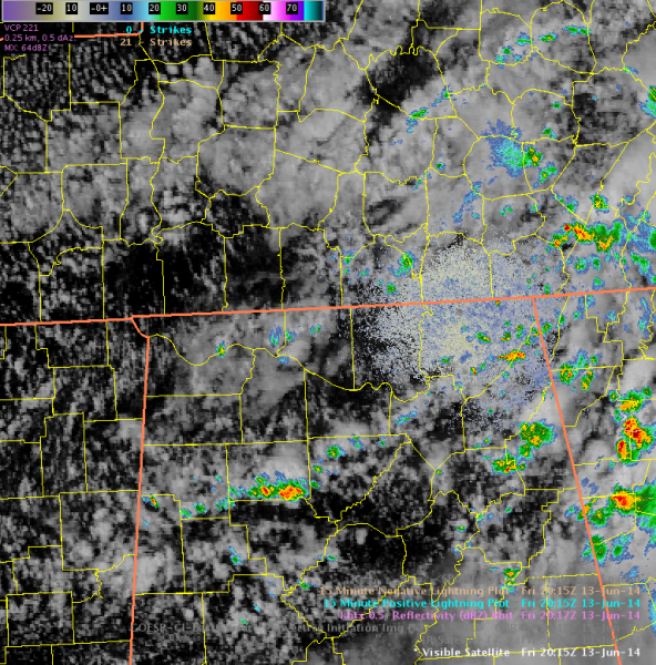 GOES Vis imagery overlaid with KHTX 0.5 reflectivity (dZB) ~2015 UTC June 13, 2014