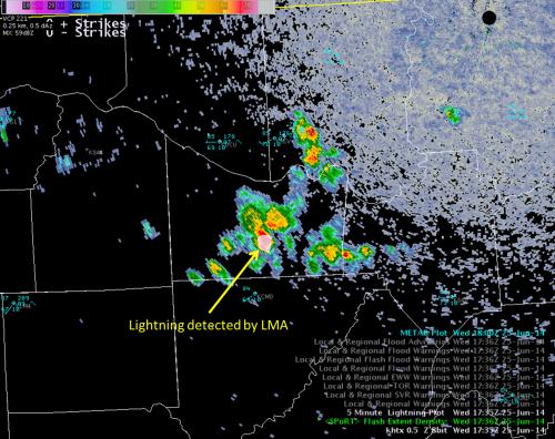 Image 1.  KHTX 0.5 reflectivity (dBZ) overlaid with North Alabama LMA Flash Extent Density valid 1735/1736 UTC 25 June 2014
