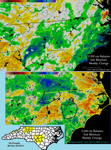 Figure 1. The 0-200 cm Relative Soil Moisture Weekly Change products ending at 08/05/2014(top) and 08/12/2014(bottom) are shown above. The U.S. Drought Monitor status is shown in the insert in the lower left with the area of abnormally dry conditions (D0) shown in the yellow shading.