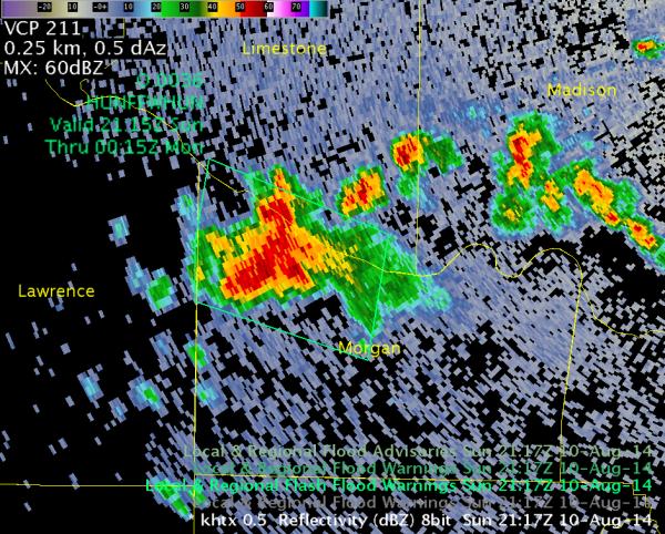 KHTX 0.5 degree reflectivity with Flash Flood Warning polygon (green box) 2117 UTC 10 August 2014