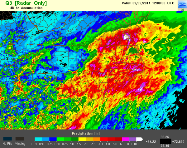 Fig. 1. The 48 hour precipitation estimate for North Carolina for the period ending at 12 UTC on 9 September 2014.