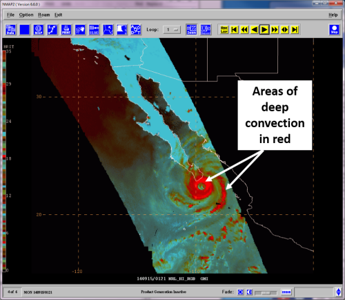 89 GHz RGB 0121 UTC 15 September 2014. Areas of deep convection appear red and can be seen surrounding the eye wall and within the rainbands of Odile in this image a few hours before landfall.